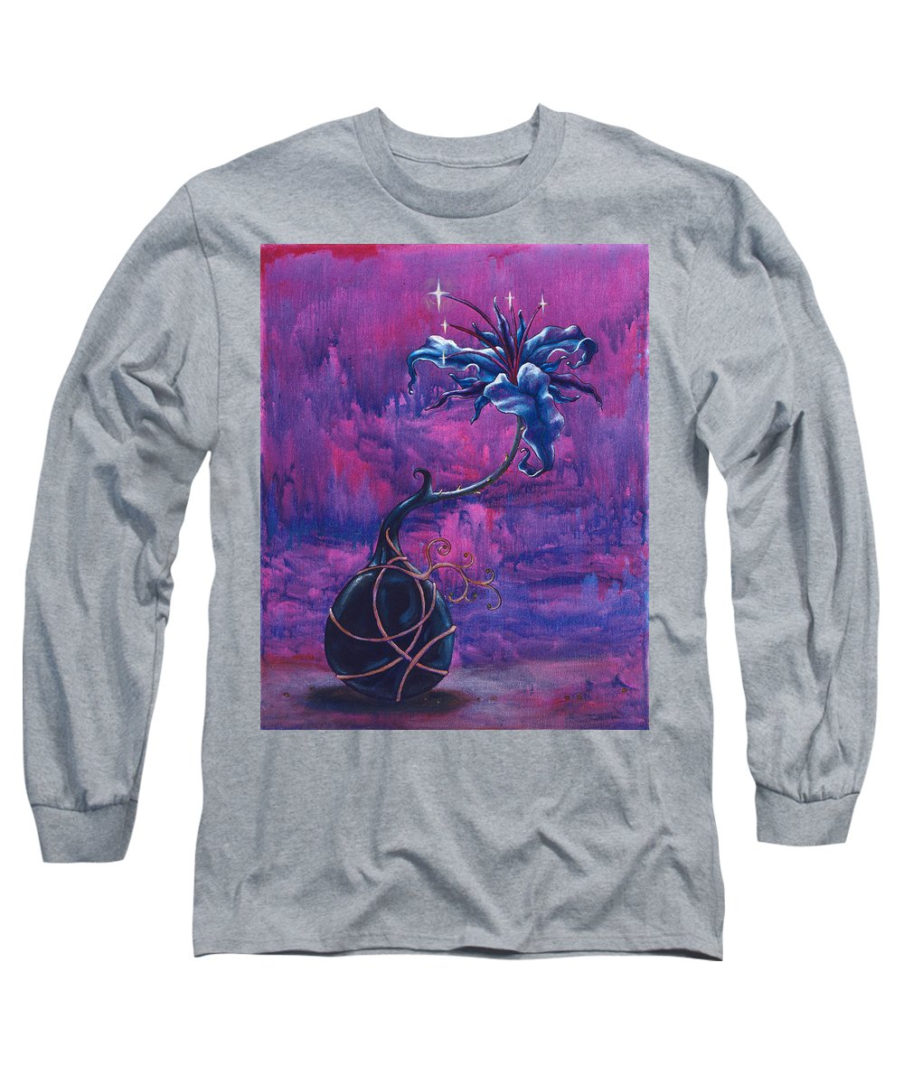 Lily Long Sleeve T-Shirt featuring the painting Waiting Flower by Jennifer McDuffie