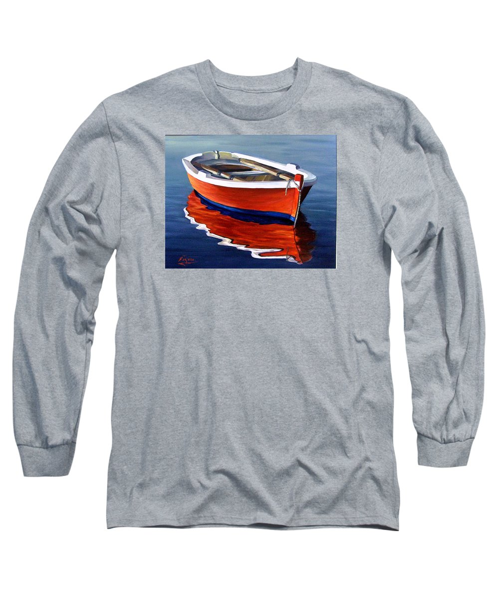 Seascape Water Boat Reflection Ocean Sea Long Sleeve T-Shirt featuring the painting Waiting by Natalia Tejera