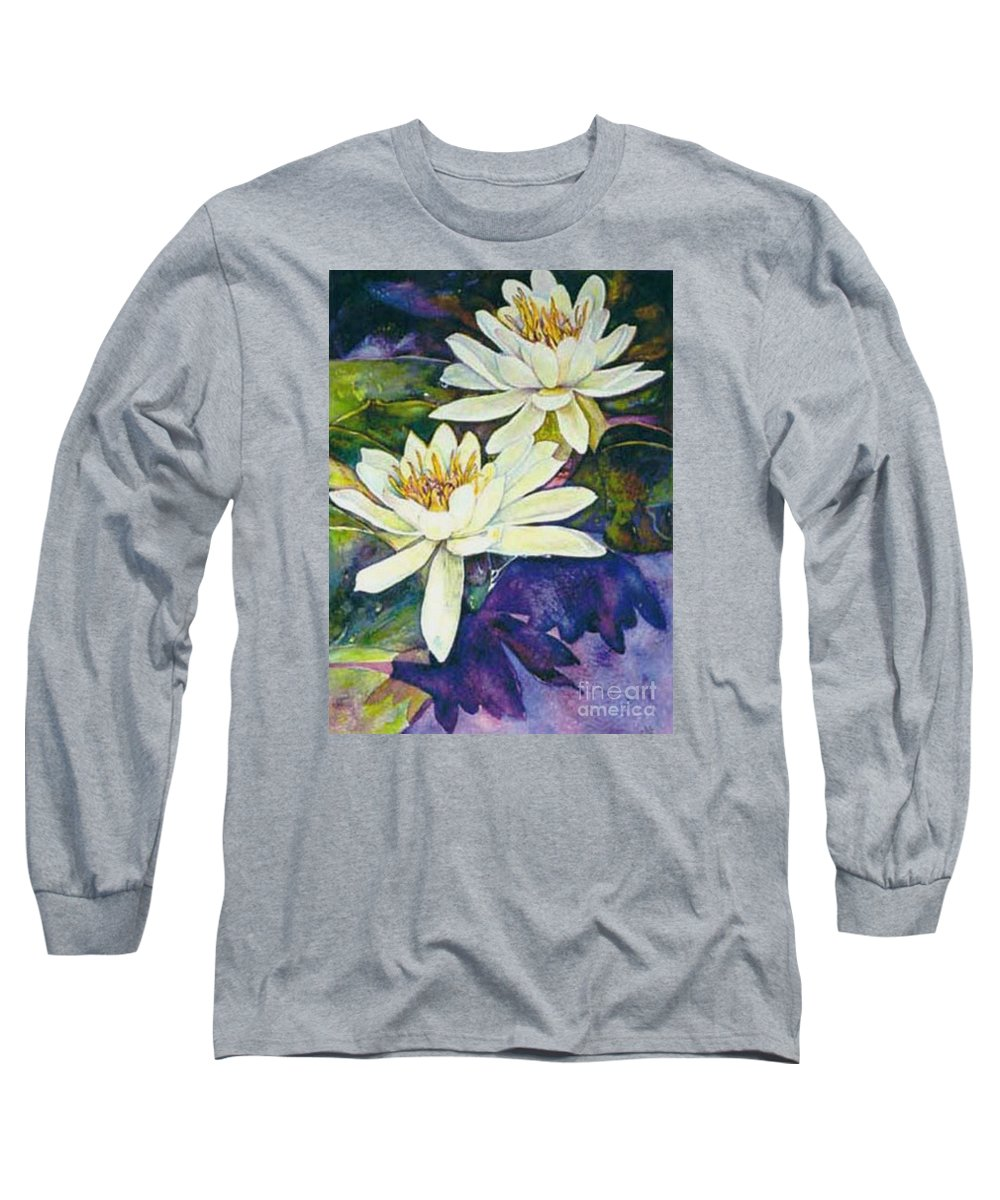 Flower Long Sleeve T-Shirt featuring the painting Water Lilies by Norma Boeckler