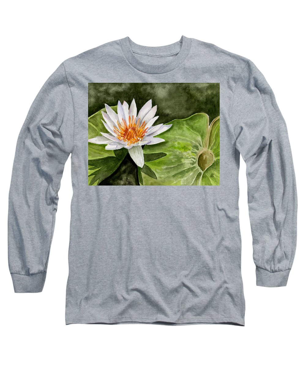 Flower Floral Water Lily Watercolor Long Sleeve T-Shirt featuring the painting Water Lily by Brenda Owen