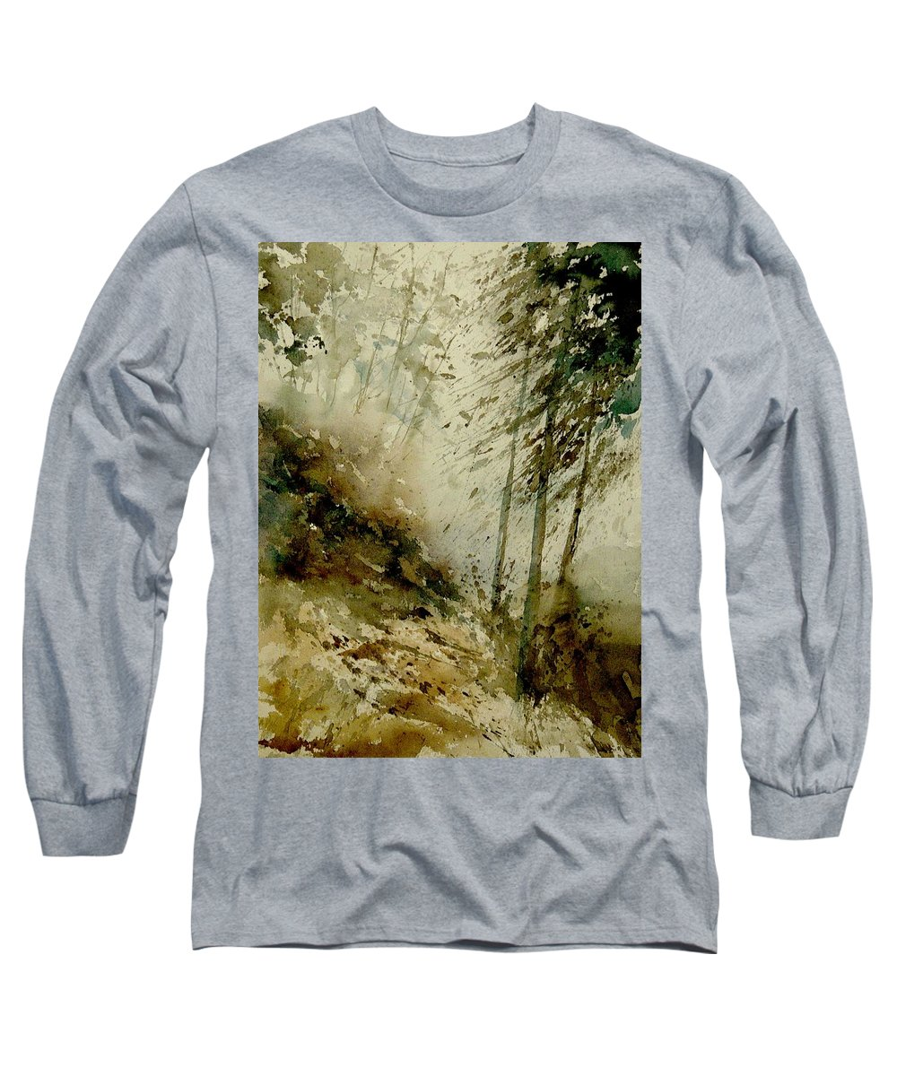 Landscape Long Sleeve T-Shirt featuring the painting Watercolor Misty Atmosphere by Pol Ledent