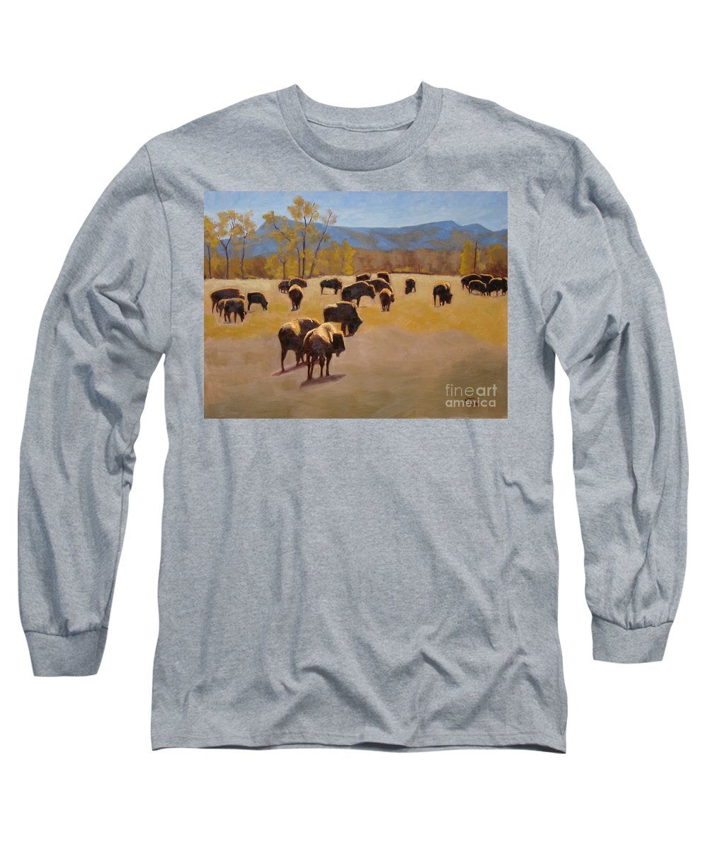 Buffalo Long Sleeve T-Shirt featuring the painting Where The Buffalo Roam by Tate Hamilton