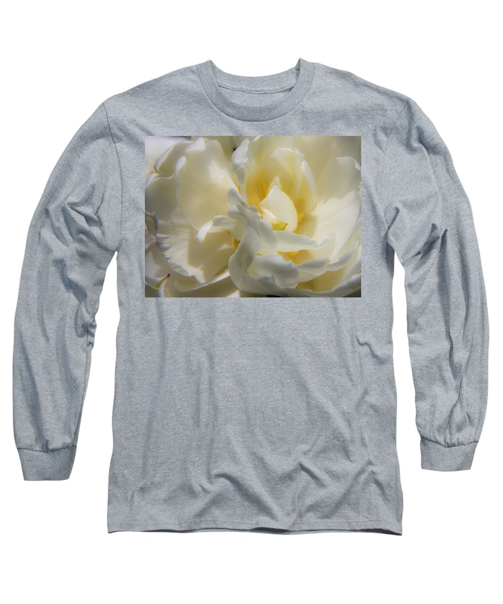 White Long Sleeve T-Shirt featuring the photograph White Peony Tulip Detail by Teresa Mucha