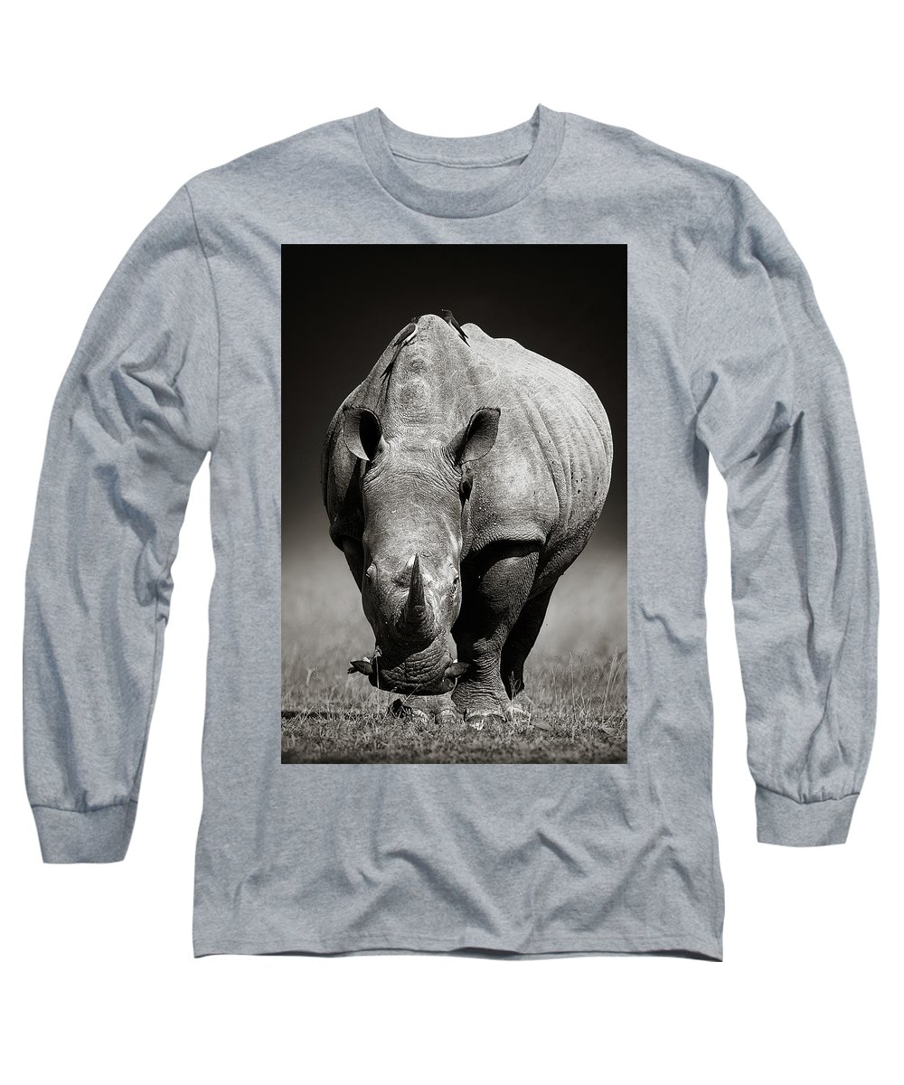 Rhinoceros Long Sleeve T-Shirt featuring the photograph White Rhinoceros In Due-tone by Johan Swanepoel