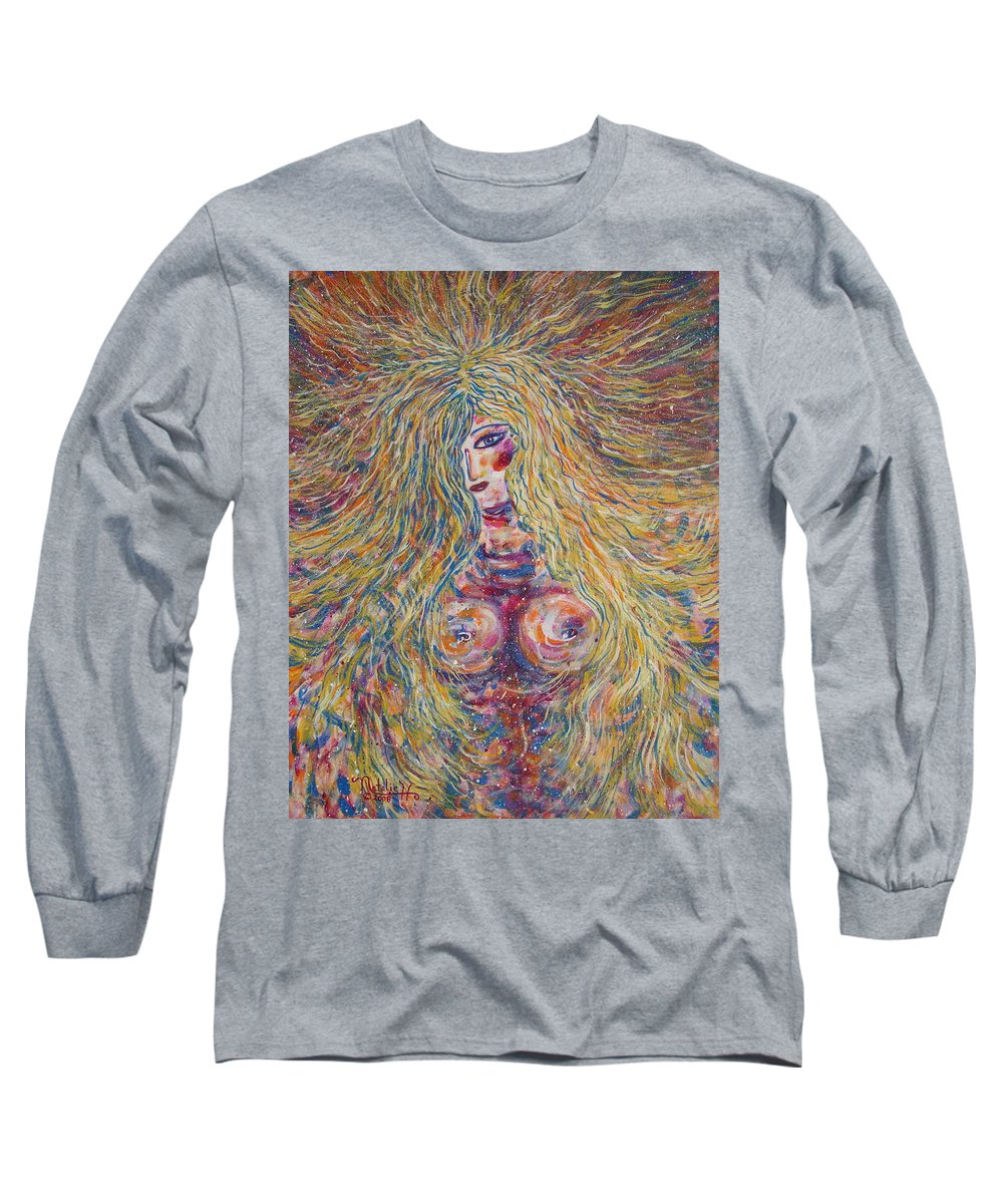 Nude Long Sleeve T-Shirt featuring the painting Wild Passion by Natalie Holland