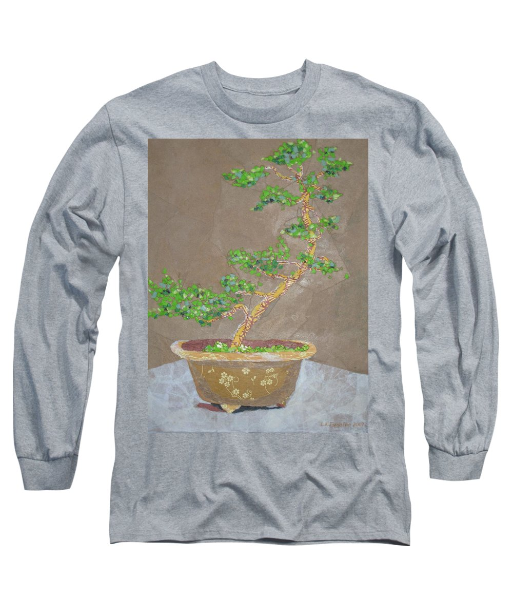 Banzai Tree Long Sleeve T-Shirt featuring the painting Windswept Juniper by Leah Tomaino
