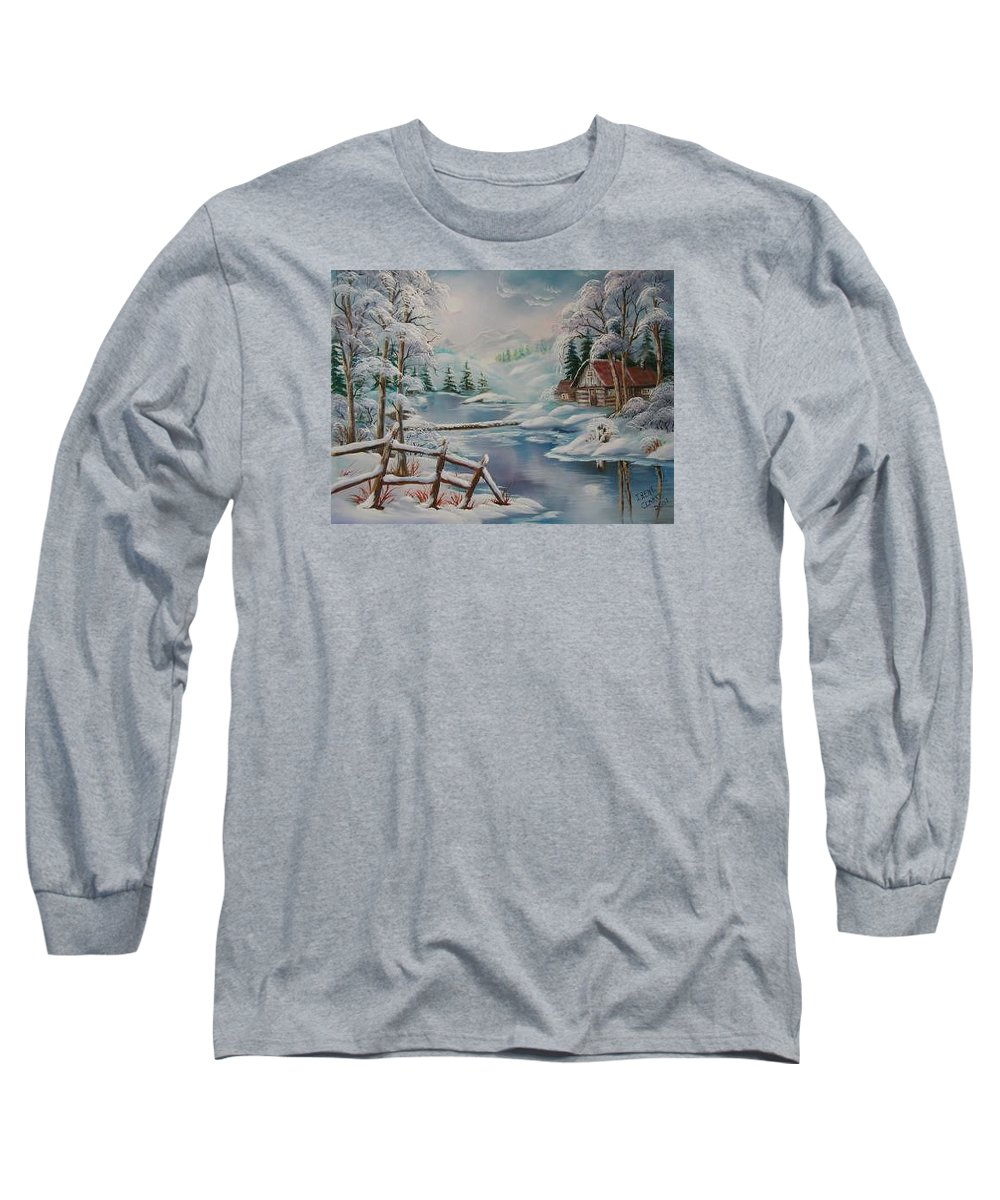 Winter Scapes Long Sleeve T-Shirt featuring the painting Winter In The Valley by Irene Clarke