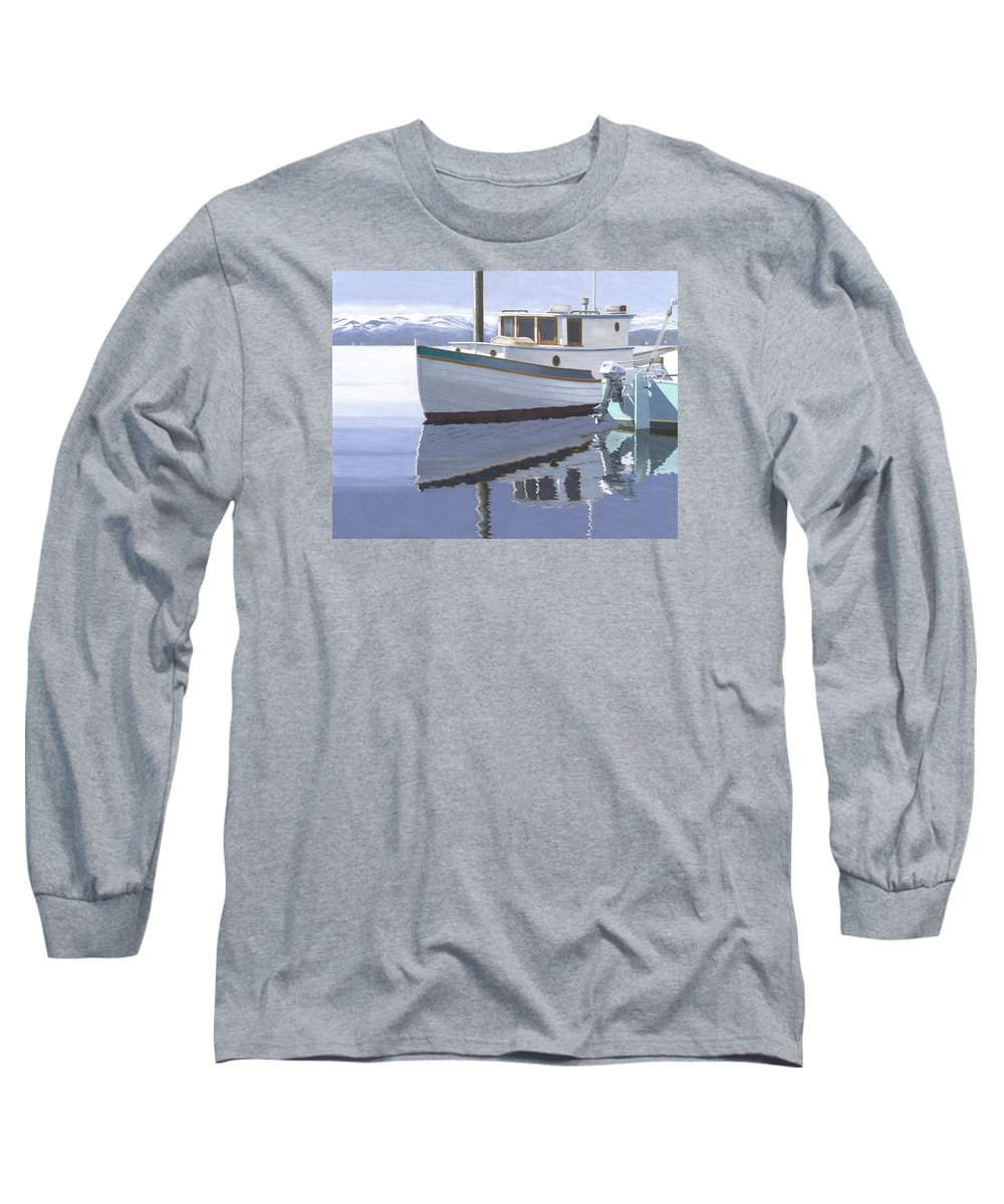 Marine Long Sleeve T-Shirt featuring the painting Winter Moorage by Gary Giacomelli