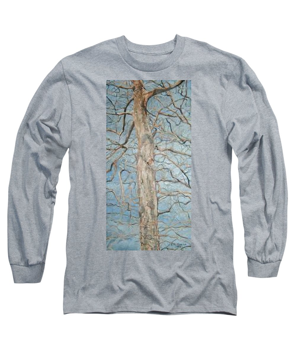 Tree Long Sleeve T-Shirt featuring the painting Winter Morning by Leah Tomaino