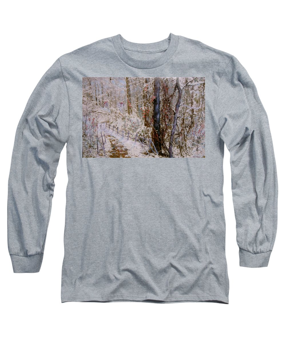 Snow; Trees Long Sleeve T-Shirt featuring the painting Winter Wonderland by Ben Kiger