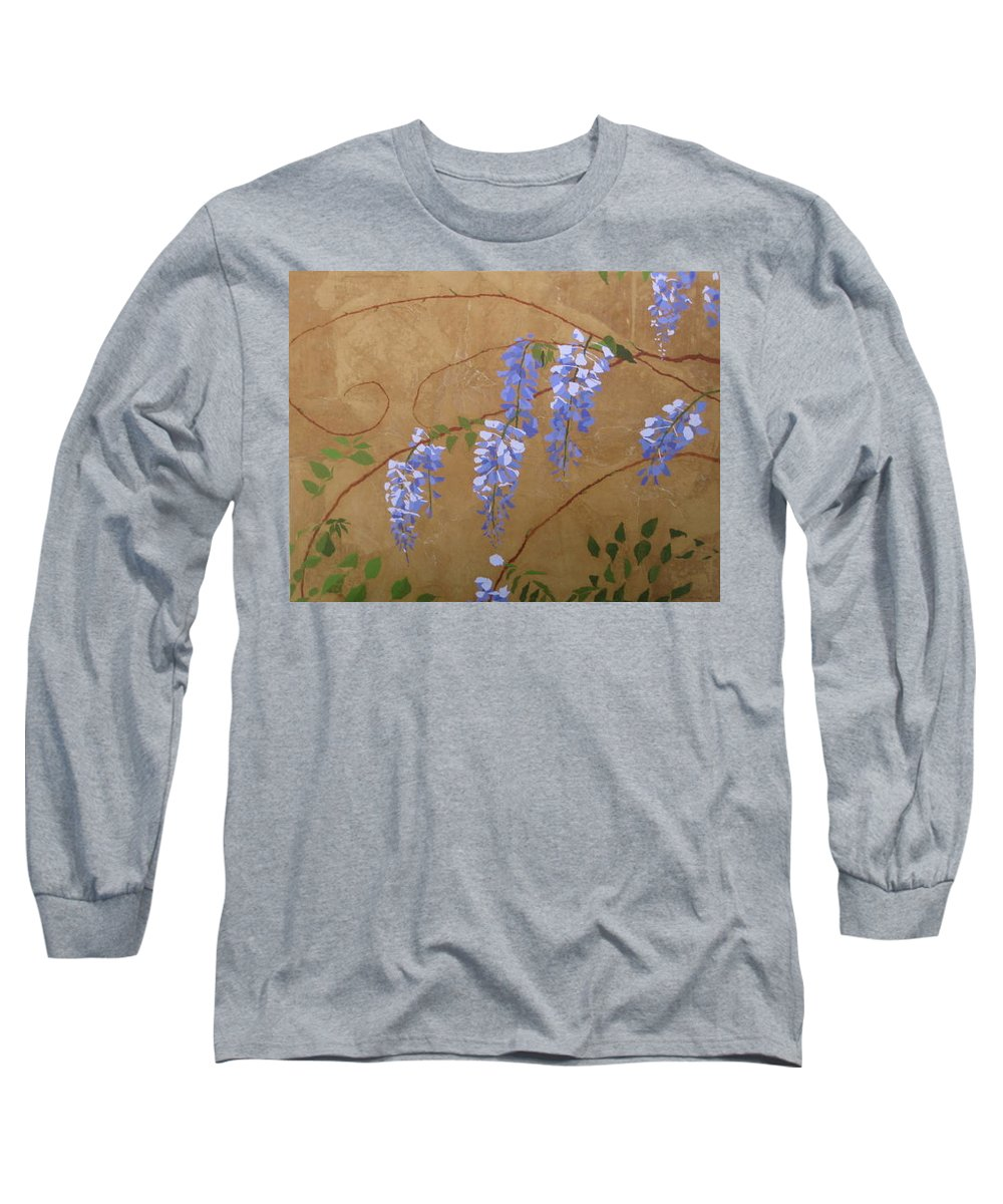 Periwinkle Wisteria Flowers Long Sleeve T-Shirt featuring the painting Wisteria by Leah Tomaino