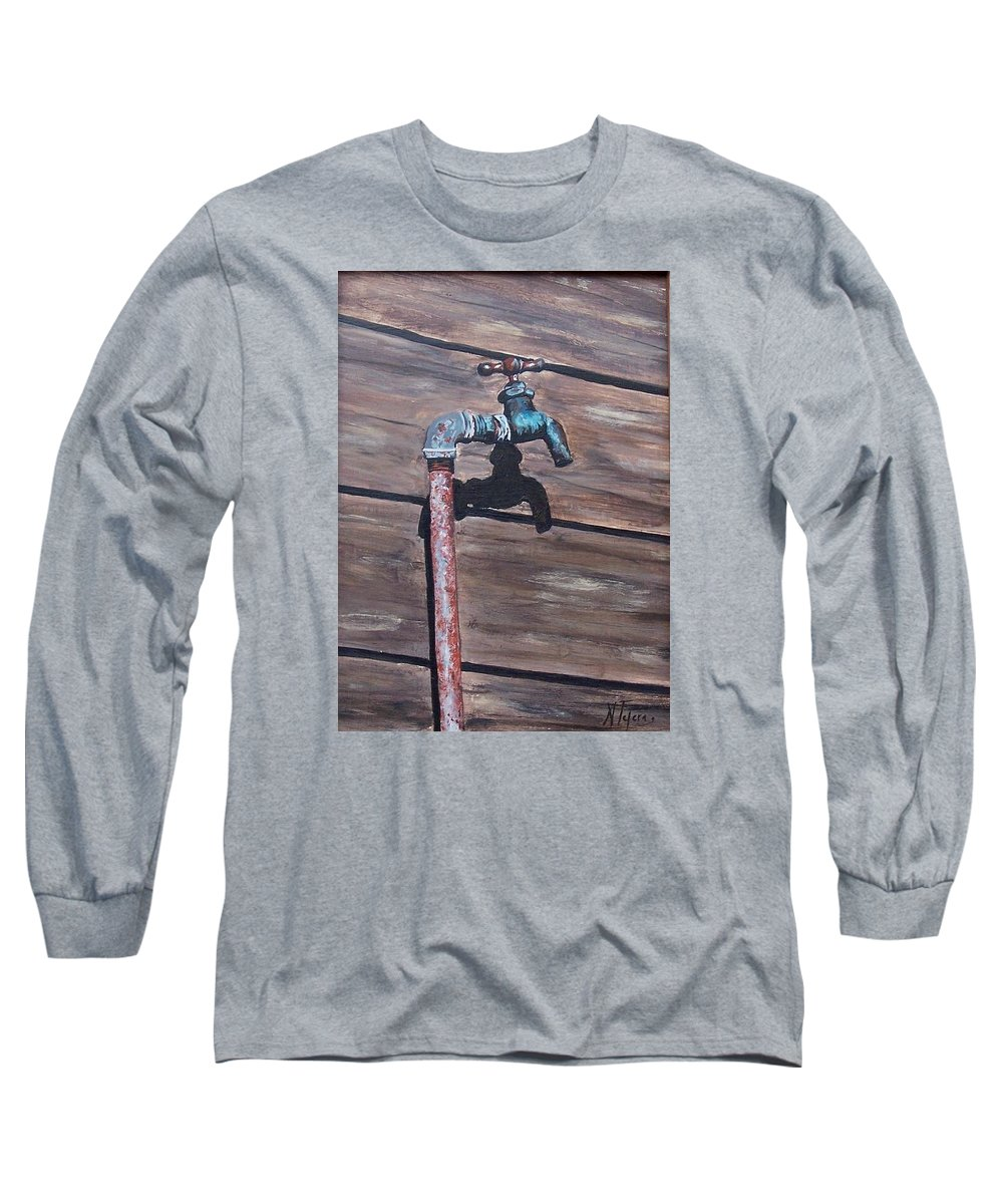 Still Life Metal Old Wood Long Sleeve T-Shirt featuring the painting Wood And Metal by Natalia Tejera