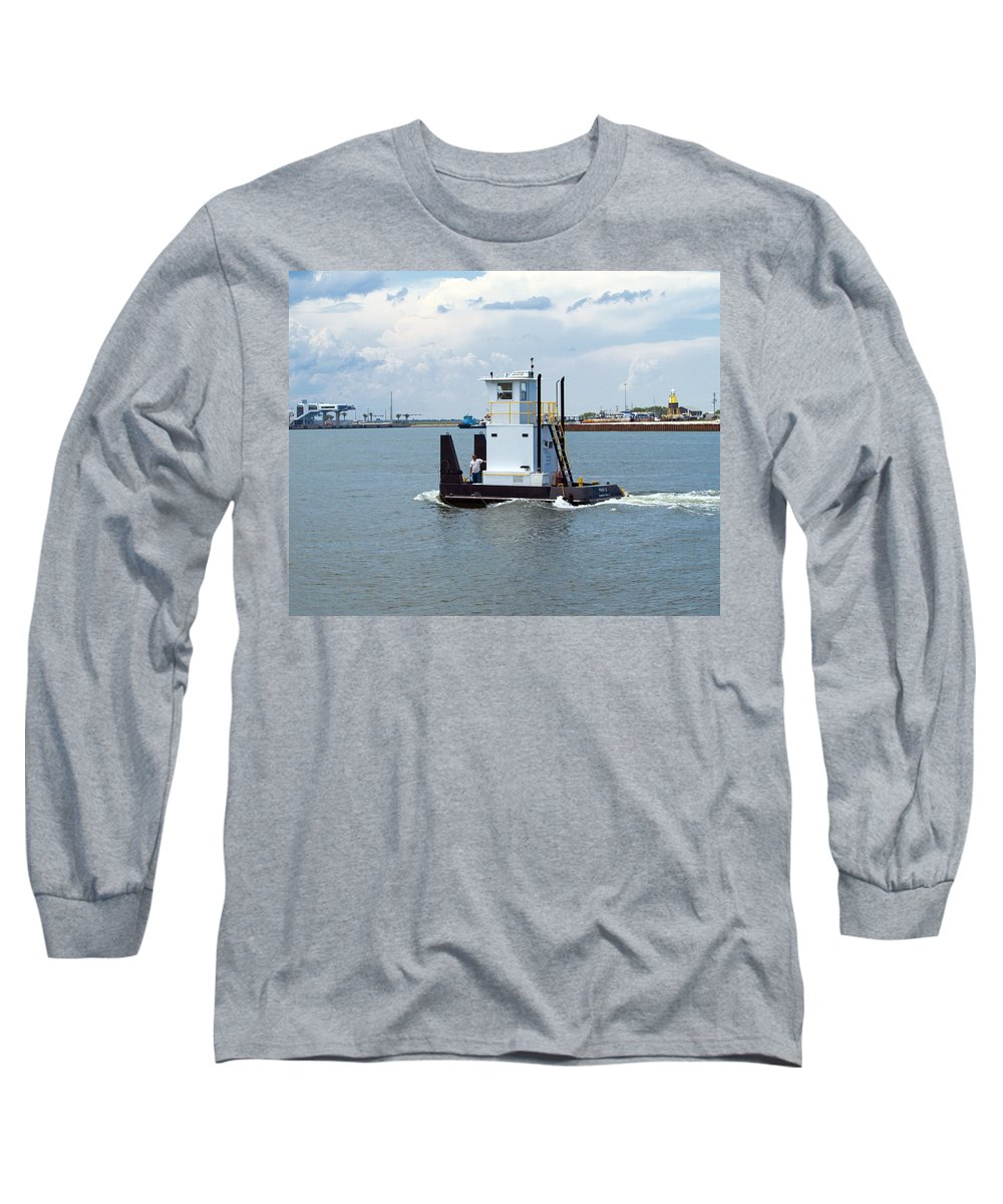 Florida; Tug; Tugboat; Boat; Work; Workboat; Pusher; Push; Barge; Barges; Working; Float; Floating; Long Sleeve T-Shirt featuring the photograph Workboat At Port Canaveral In Florida by Allan Hughes