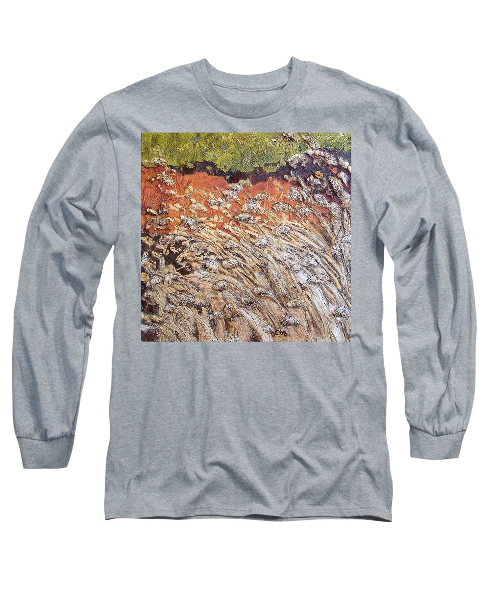 Abstract Long Sleeve T-Shirt featuring the painting Yearning by Piety Choi
