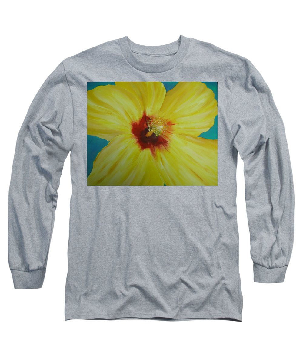 Flower Long Sleeve T-Shirt featuring the print Yellow Hibiscus by Melinda Etzold
