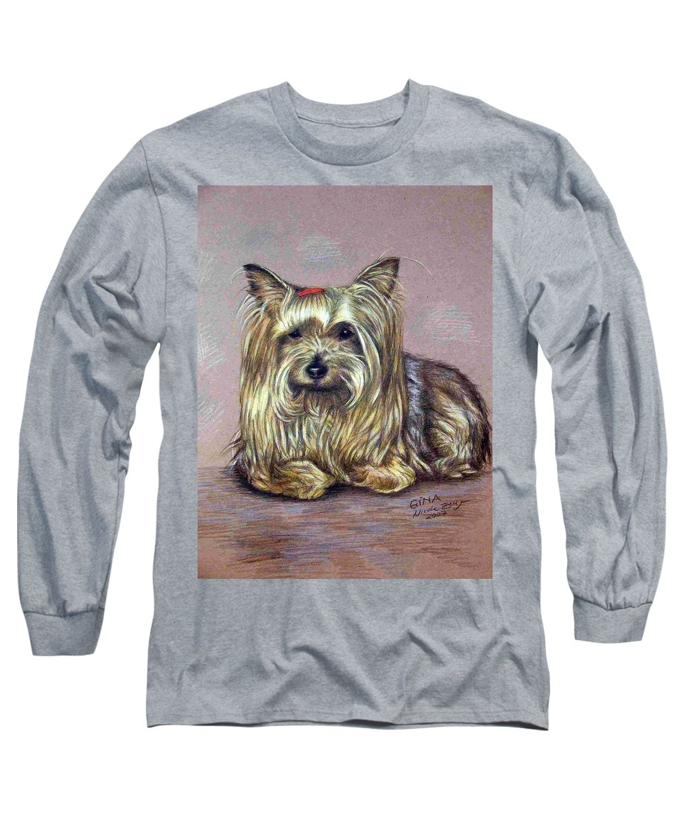 Dog Long Sleeve T-Shirt featuring the drawing Yorkshire Terrier by Nicole Zeug