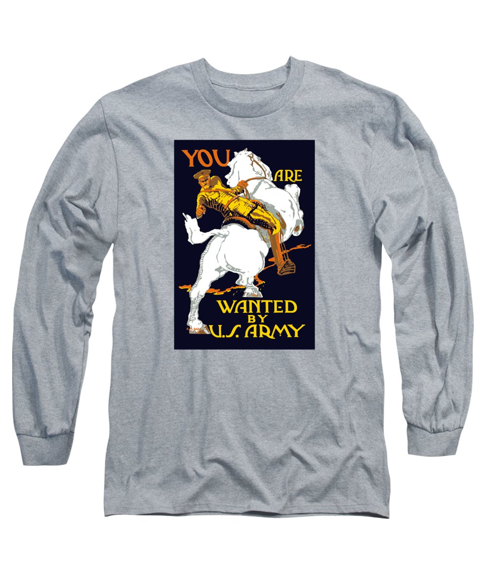 Ww1 Long Sleeve T-Shirt featuring the painting You Are Wanted By Us Army by War Is Hell Store
