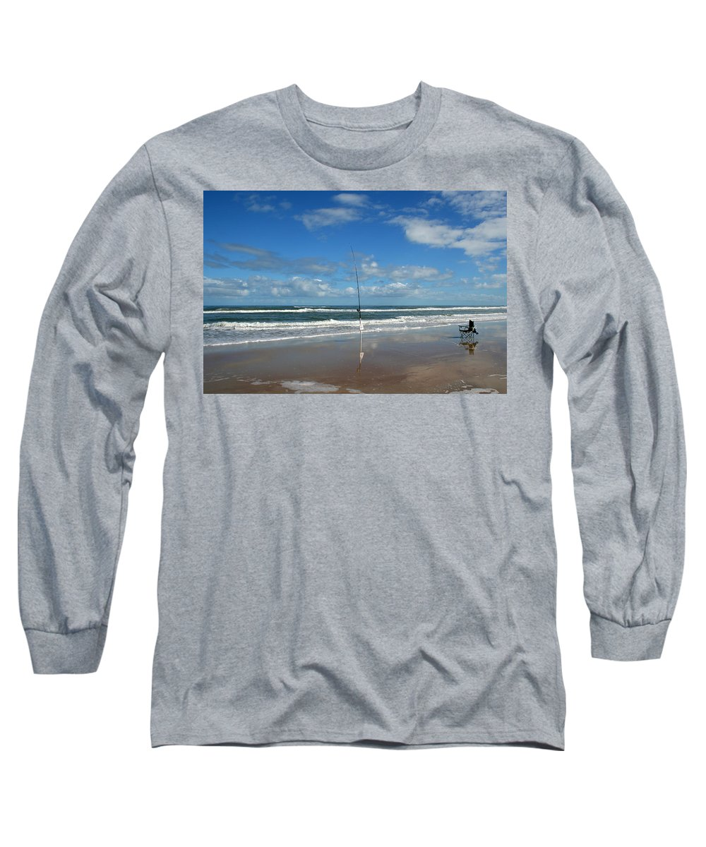 Fish Fishing Vacation Beach Surf Shore Rod Pole Chair Blue Sky Ocean Waves Wave Sun Sunny Bright Long Sleeve T-Shirt featuring the photograph You Could Have Been There by Andrei Shliakhau
