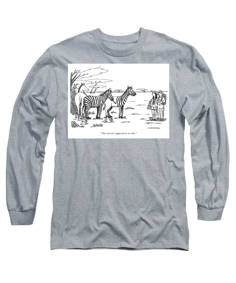 """you Weren't Supposed To See This."" Long Sleeve T-Shirt featuring the drawing You Were Not Supposed To See This by Joe Dator"