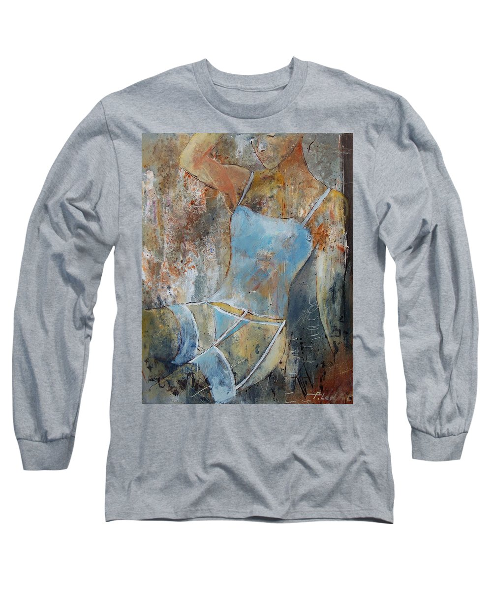 Nude Long Sleeve T-Shirt featuring the painting Young Girl 451108 by Pol Ledent