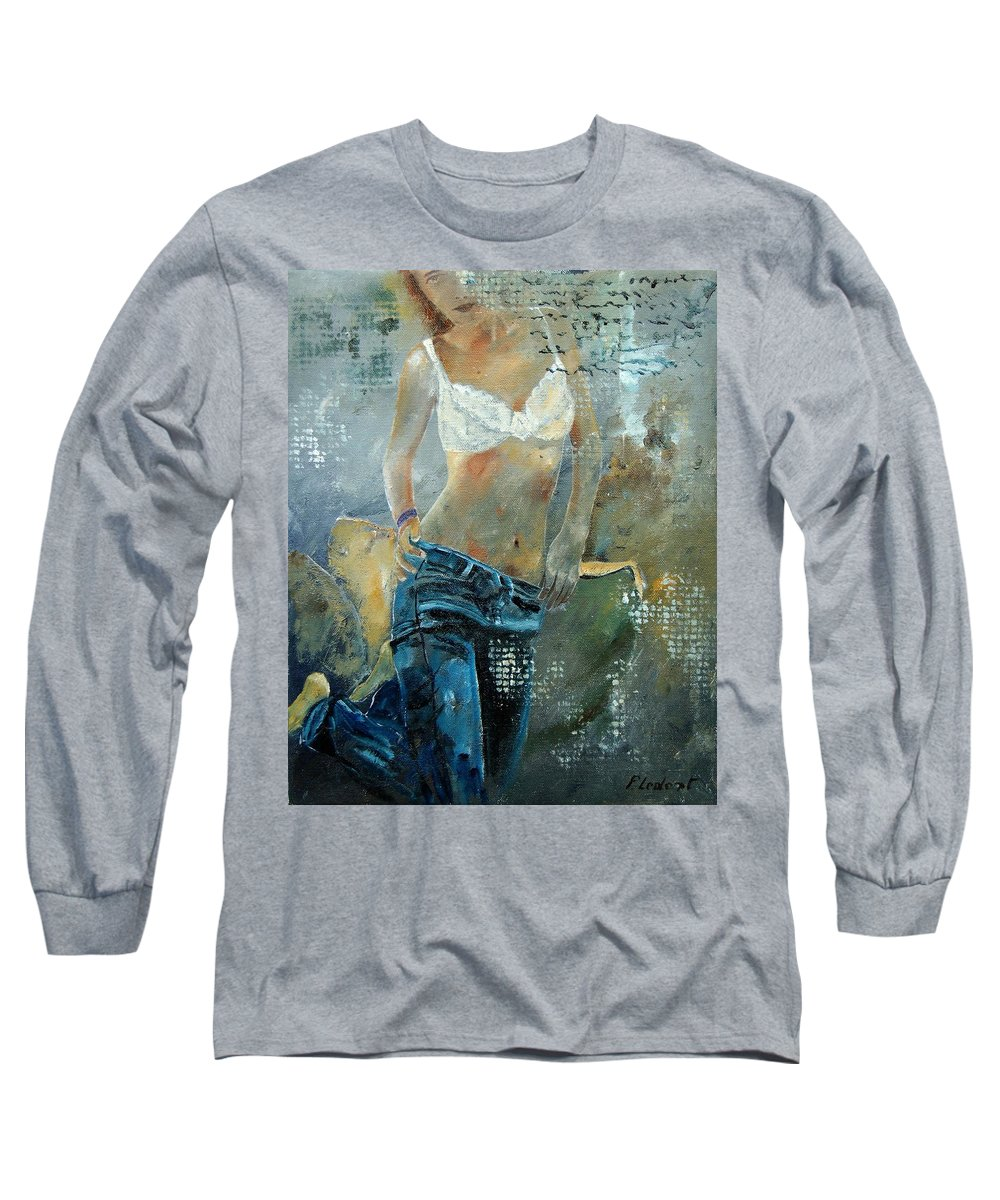 Girl Long Sleeve T-Shirt featuring the painting Young Girl In Jeans by Pol Ledent