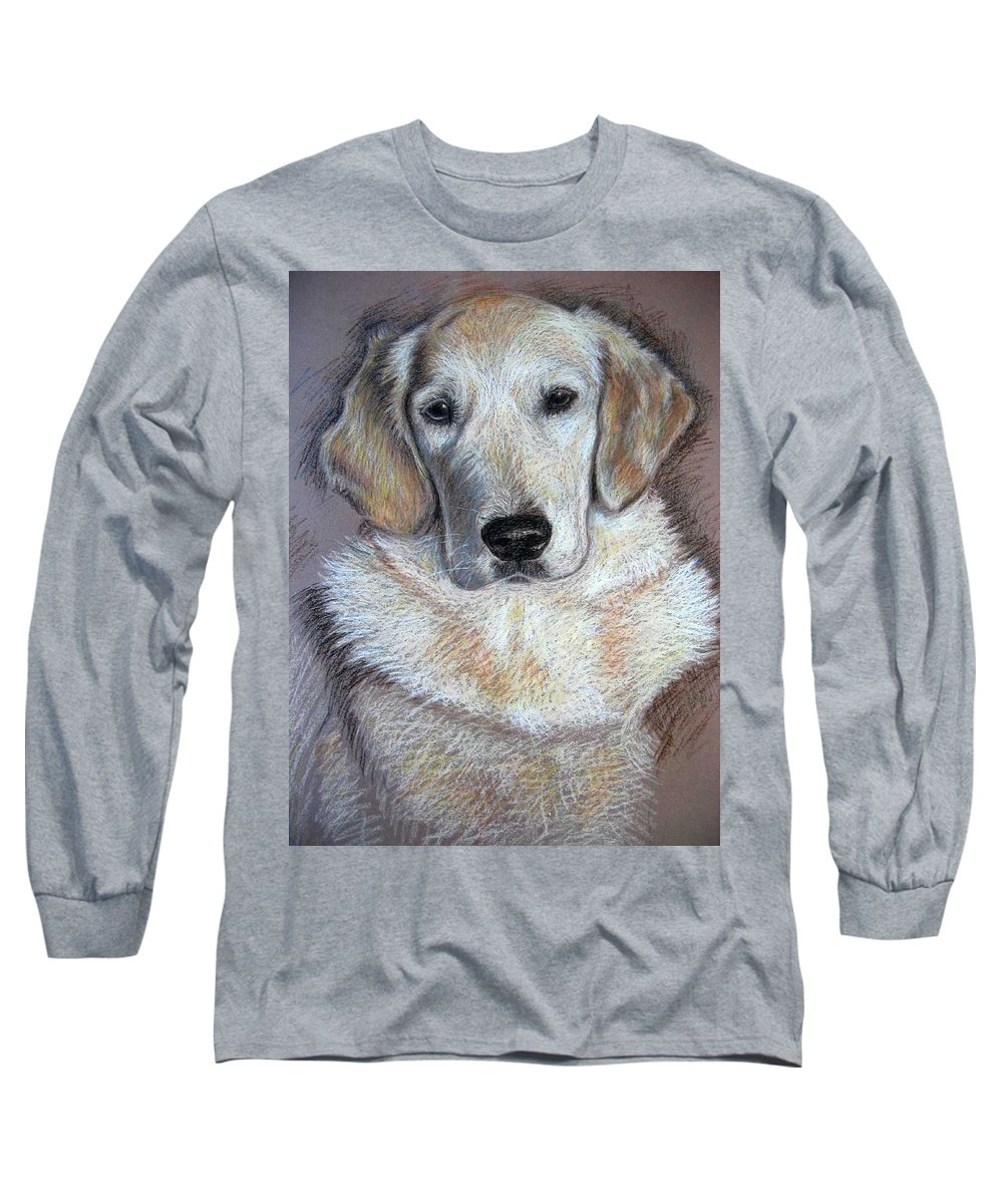 Dog Long Sleeve T-Shirt featuring the pastel Young Golden Retriever by Nicole Zeug