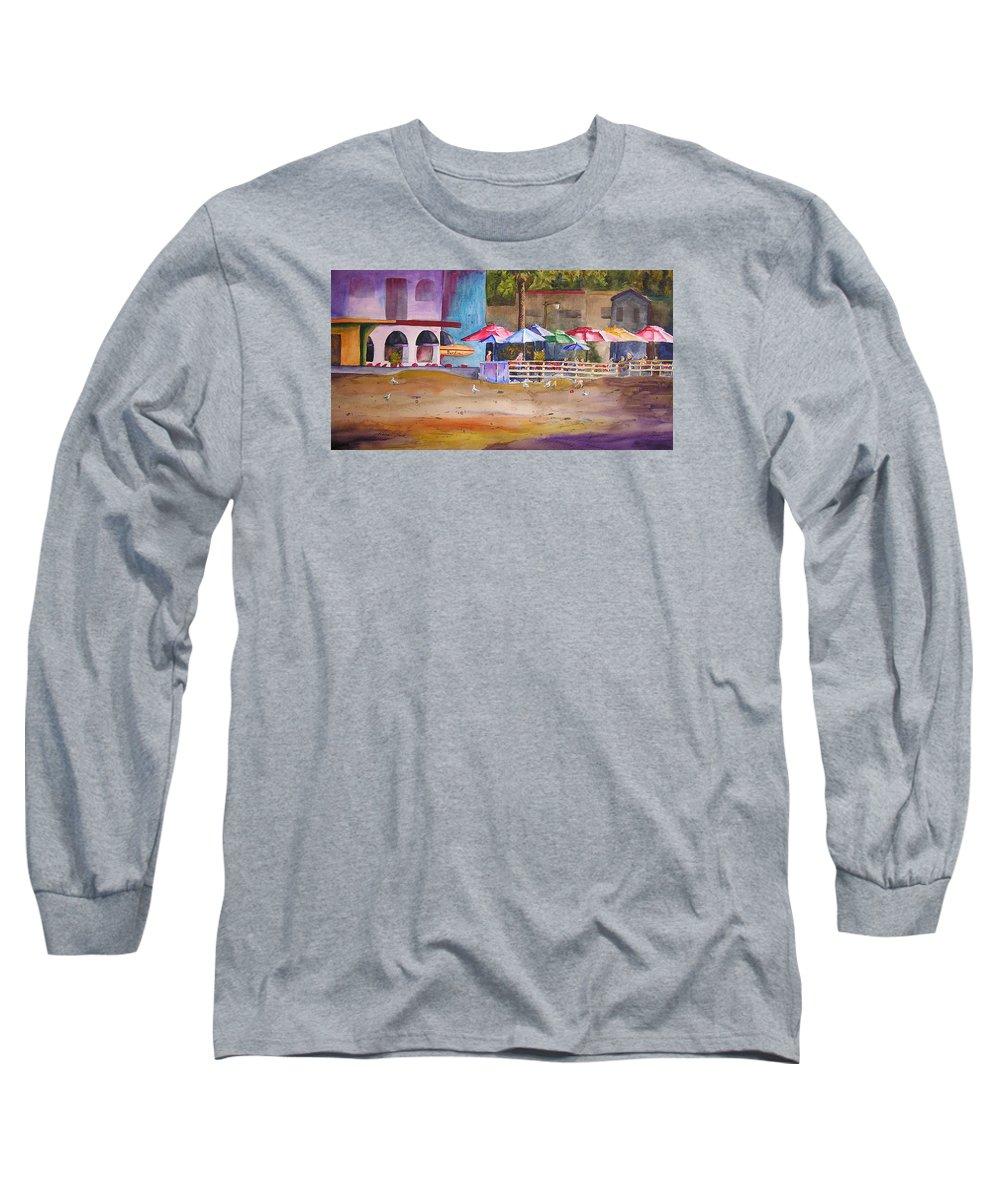 Umbrella Long Sleeve T-Shirt featuring the painting Zelda's Umbrellas by Karen Stark