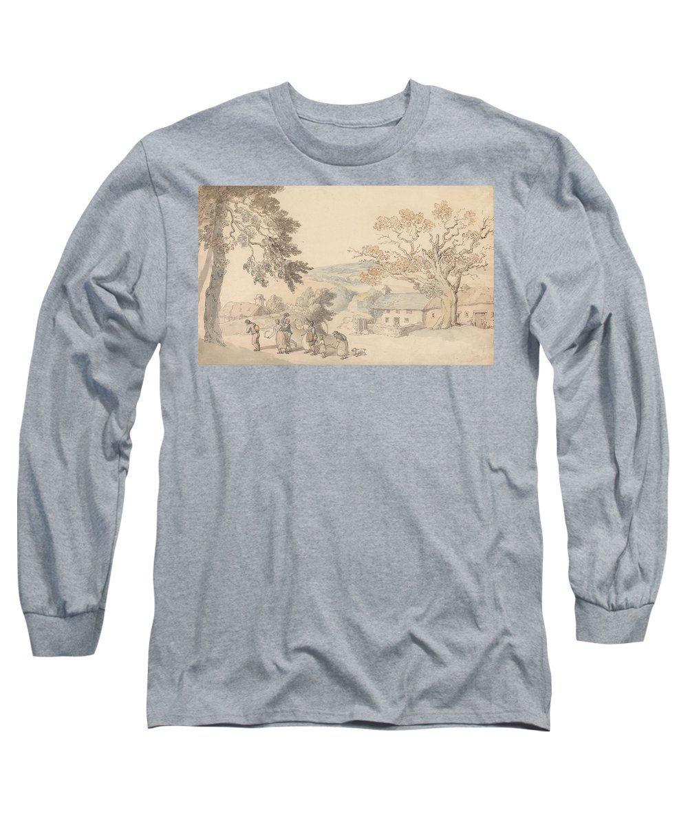 Thomas-rowlandson Long Sleeve T-Shirt featuring the painting Harvesters Setting Out by Thomas Rowlandson
