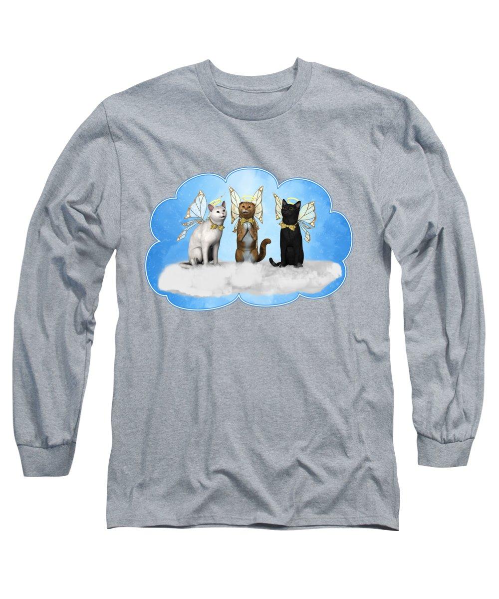Angel Kitty Choir Long Sleeve T-Shirt featuring the digital art Angel Kitty Choir by Methune Hively