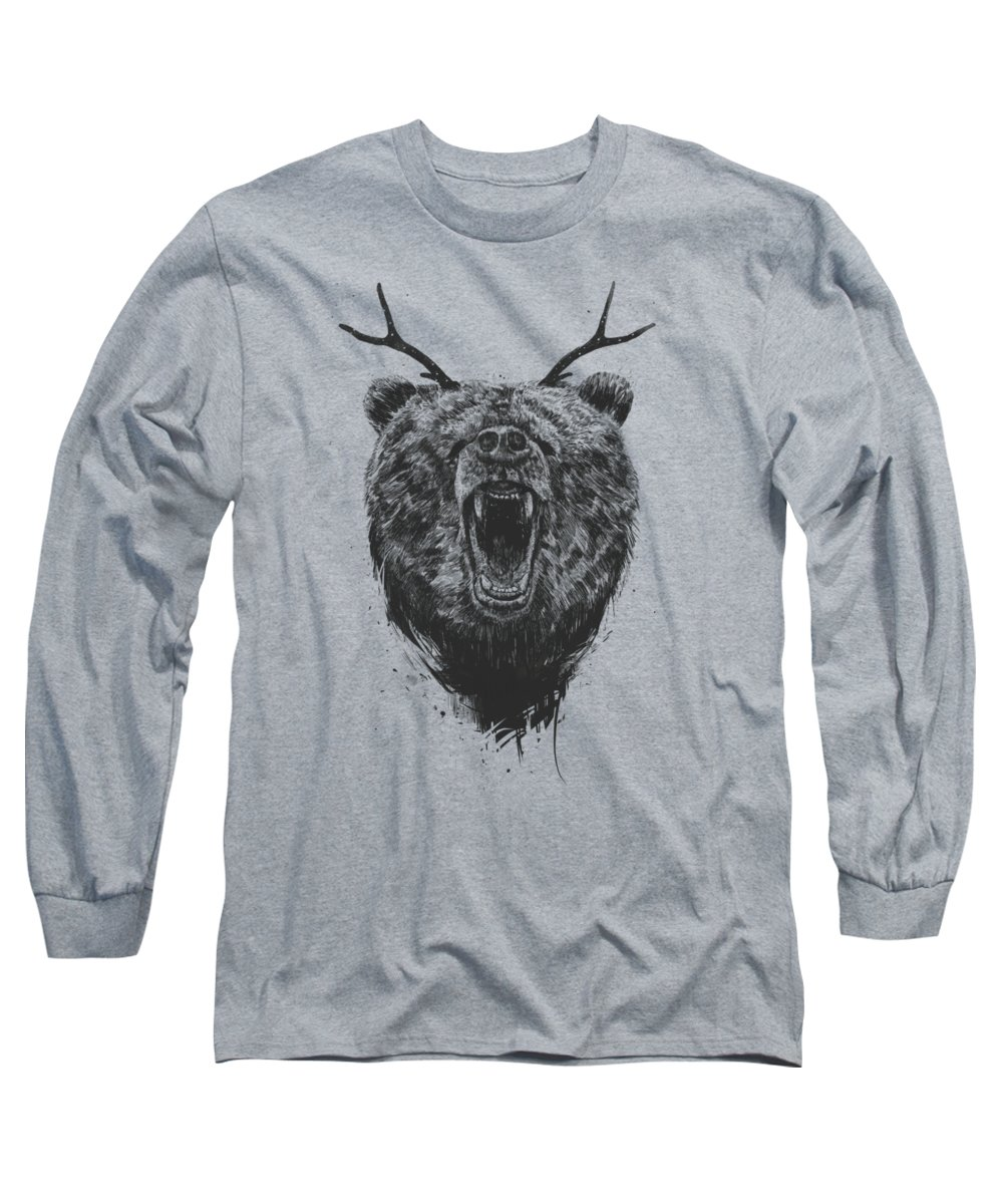 Bear Long Sleeve T-Shirt featuring the drawing Angry Bear With Antlers by Balazs Solti