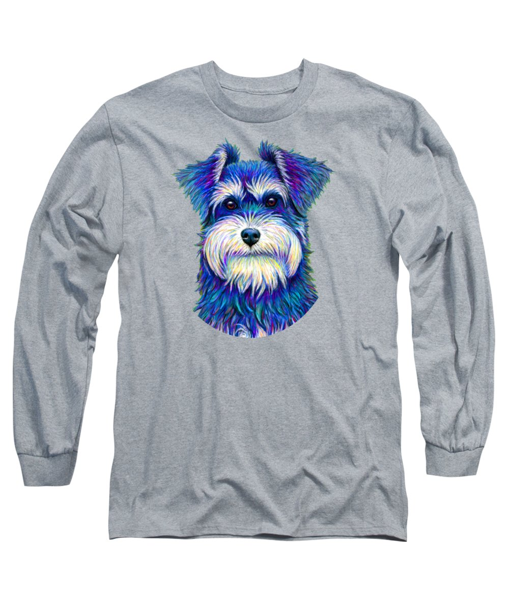 Miniature Schnauzer Long Sleeve T-Shirt featuring the drawing Colorful Miniature Schnauzer Dog by Rebecca Wang