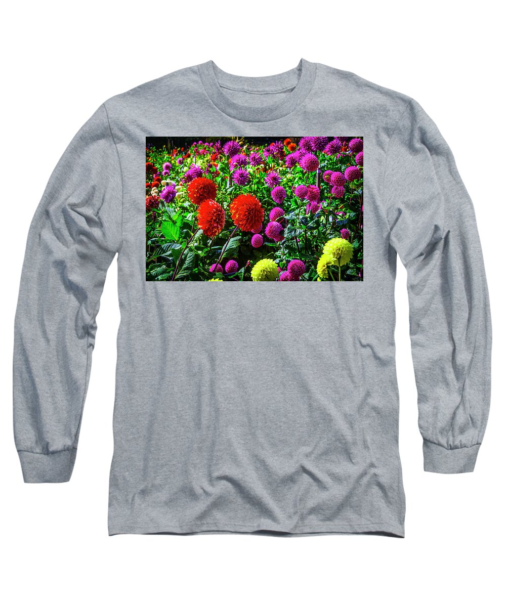 Mood Long Sleeve T-Shirt featuring the photograph Beautiful Dahlia Garden by Garry Gay