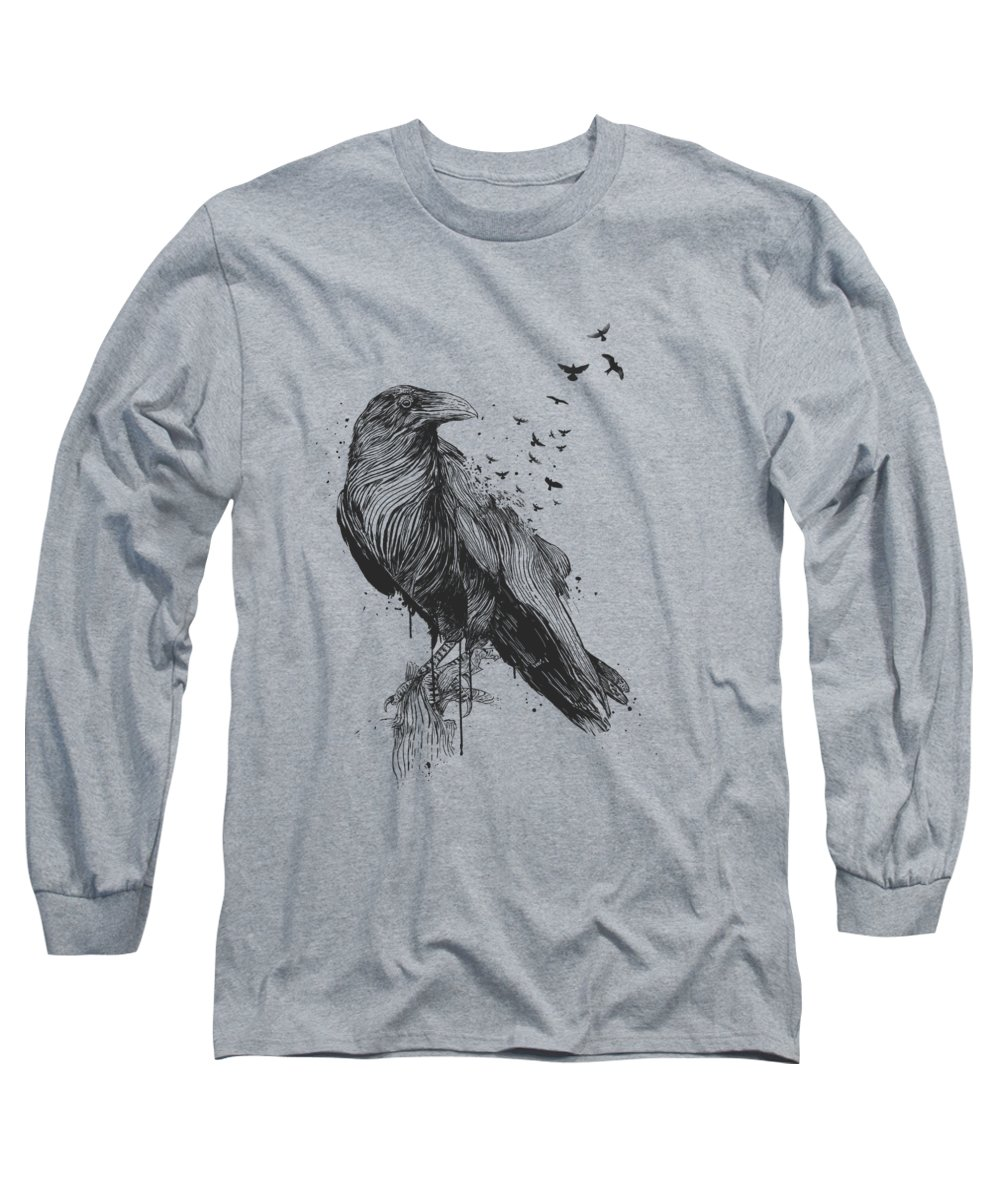 Bird Long Sleeve T-Shirt featuring the drawing Born to be free by Balazs Solti