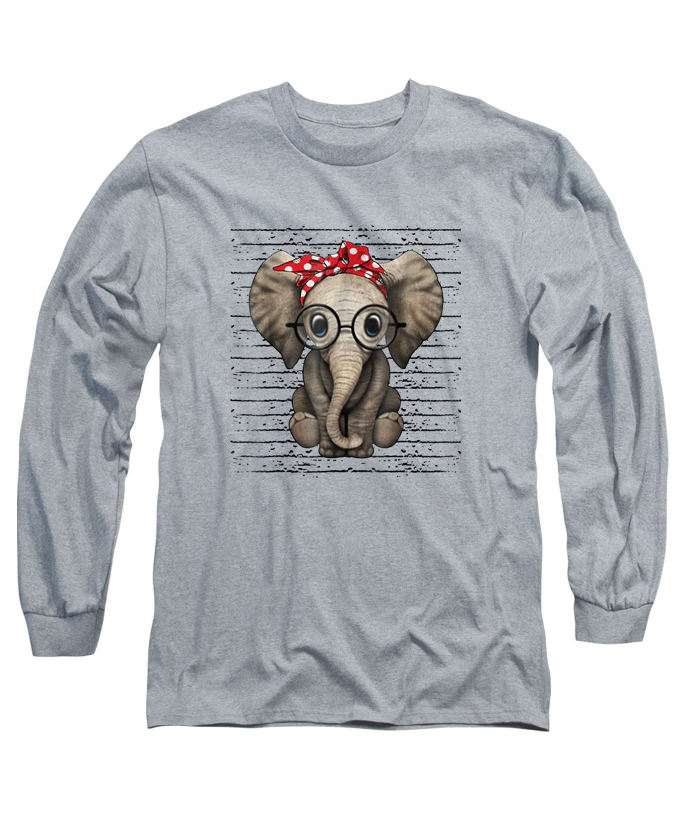 girls' Novelty Clothing Long Sleeve T-Shirt featuring the digital art Elephants With Bandana Headband And Glasses Cute T-shirt by Unique Tees