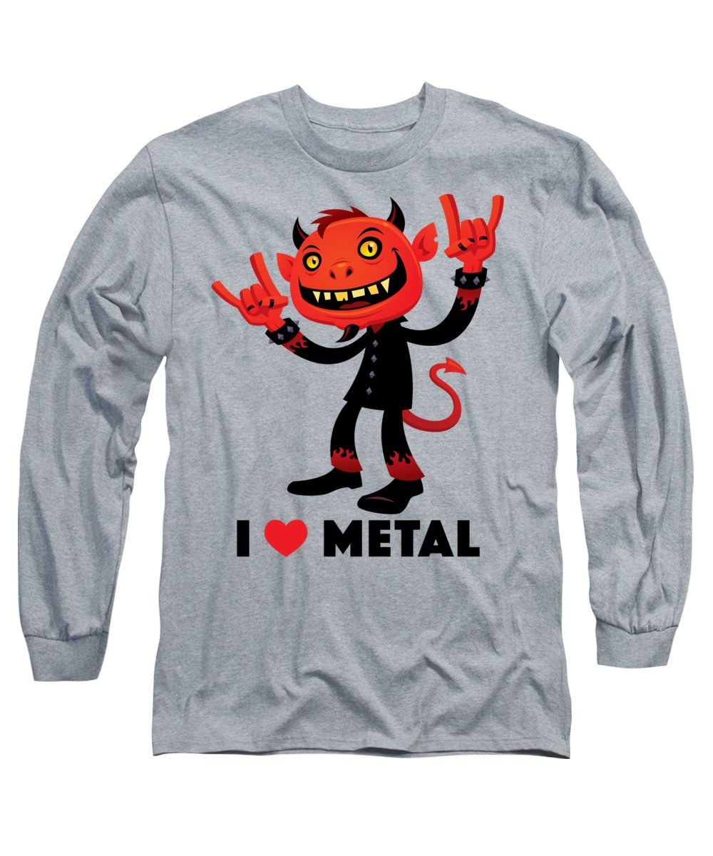 Band Long Sleeve T-Shirt featuring the digital art I Love Metal Devil by John Schwegel
