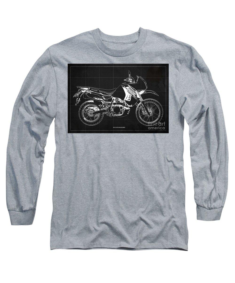 Kawasaki Long Sleeve T-Shirt featuring the drawing Kawasaki Klr650 Blueprint Dark Grey Background Custom For Yasmeen Original Artwork by Drawspots Illustrations