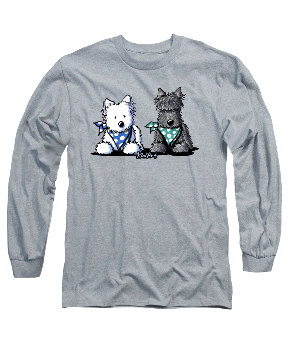 Westie Long Sleeve T-Shirt featuring the photograph Kiniart Terrier Twosome by Kim Niles