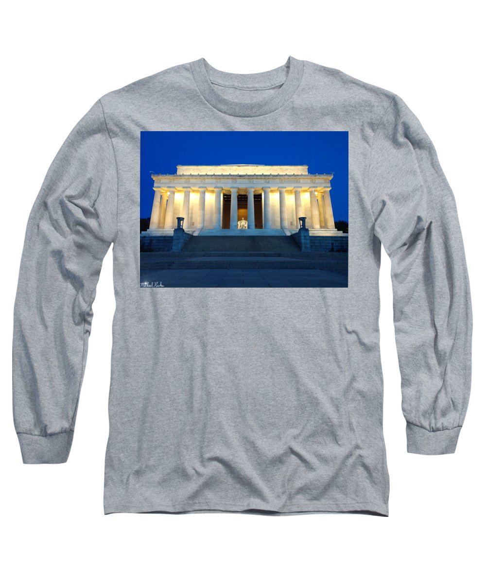Lincoln Memorial Long Sleeve T-Shirt featuring the photograph Lincoln Memorial Night by Michael Rucker