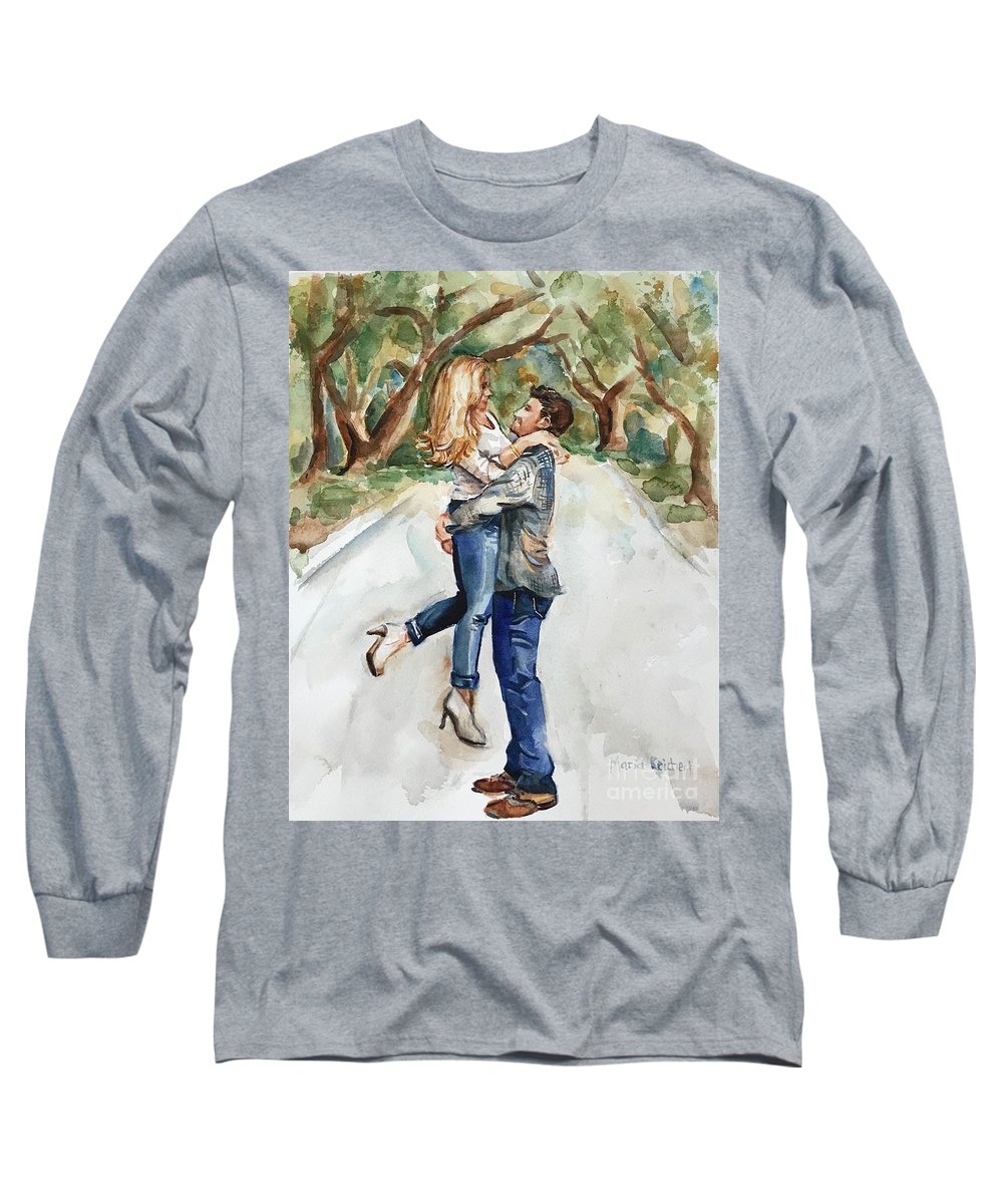Engaged Long Sleeve T-Shirt featuring the painting Marry Me by Maria Reichert