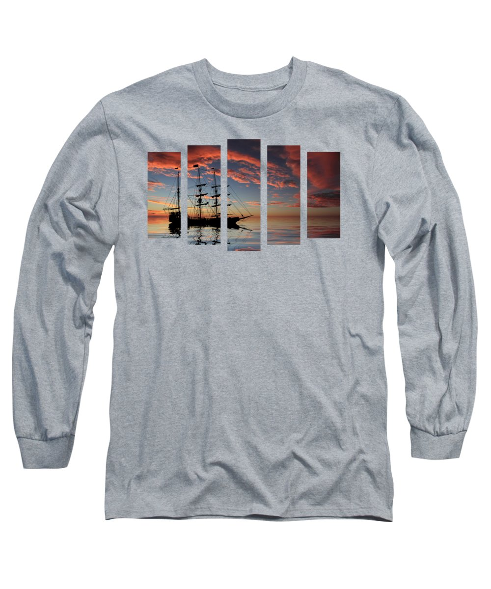 Boat Silhouette Long Sleeve T-Shirts