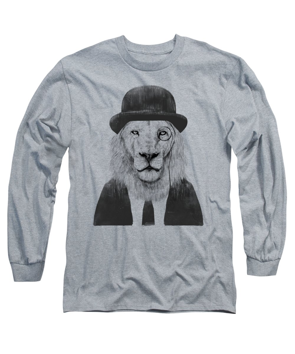 Lion Long Sleeve T-Shirt featuring the mixed media Sir lion by Balazs Solti