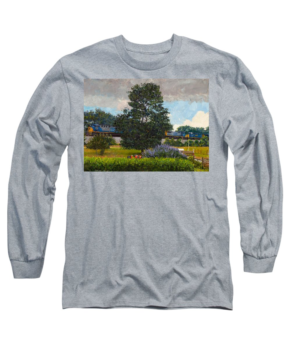 Freight Long Sleeve T-Shirt featuring the painting Westbound Freight, Crozet by Edward Thomas