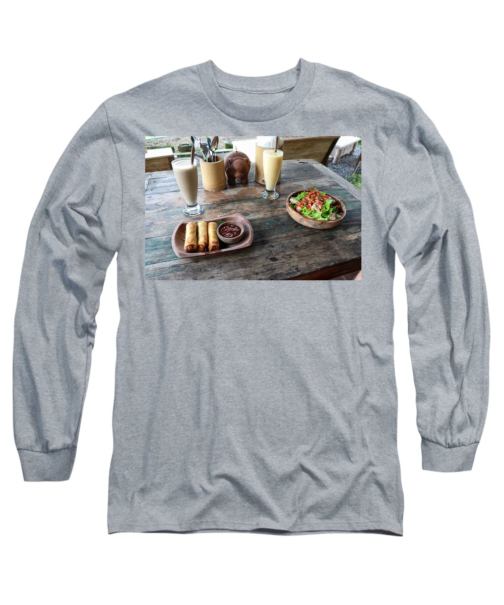 Indonesia Long Sleeve T-Shirt featuring the digital art Balinese dinner by Worldvibes1