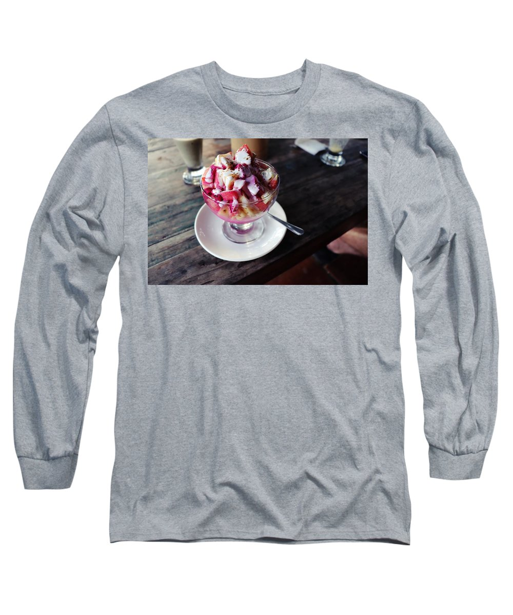 Fruit Long Sleeve T-Shirt featuring the digital art Fruity dessert with white cream by Worldvibes1