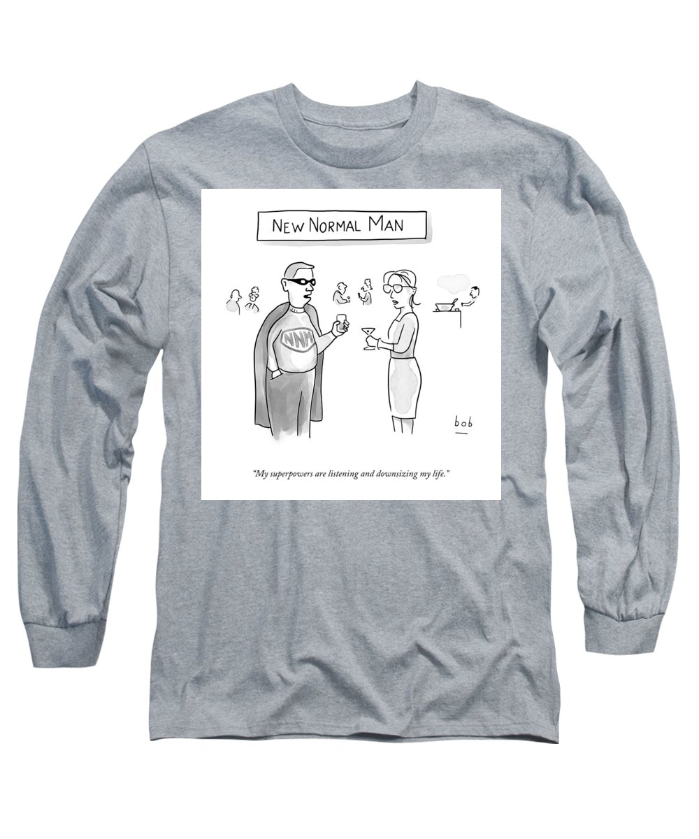 A25367 Long Sleeve T-Shirt featuring the drawing New Normal Man by Bob Eckstein