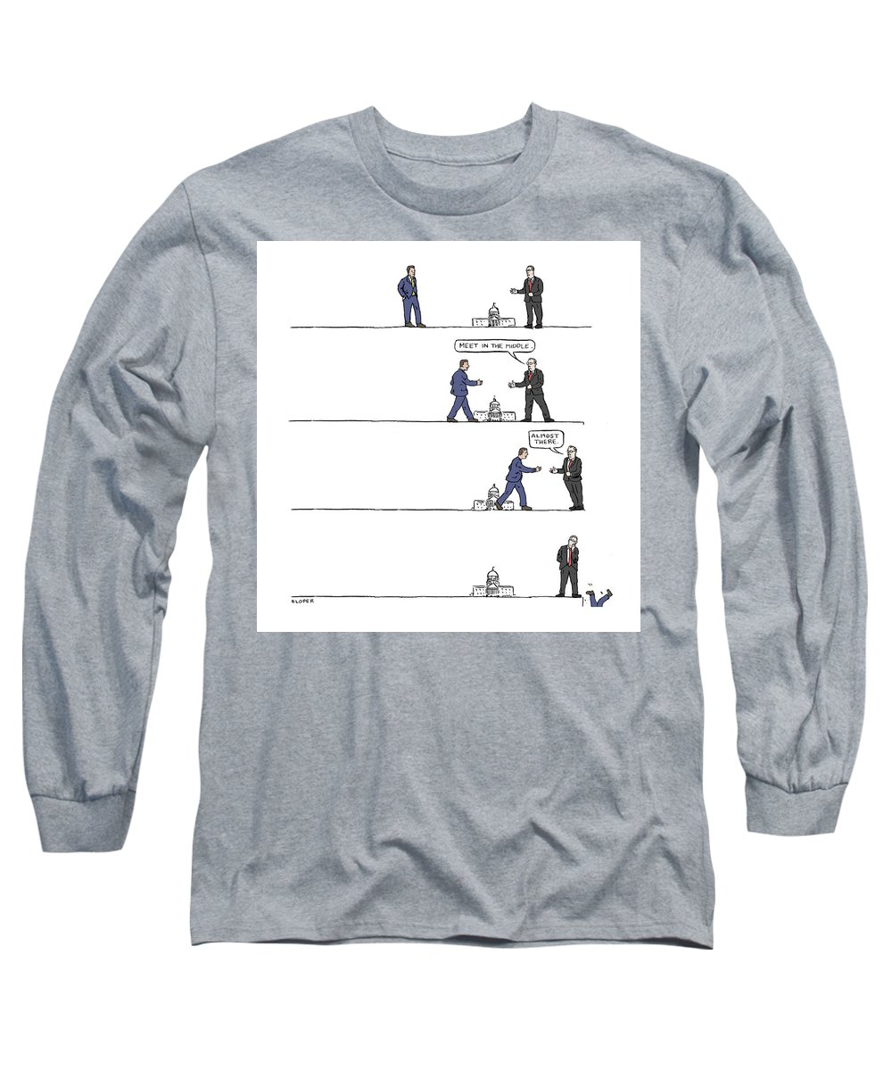 Captionless Long Sleeve T-Shirt featuring the drawing The Art of Political Compromise by Brendan Loper