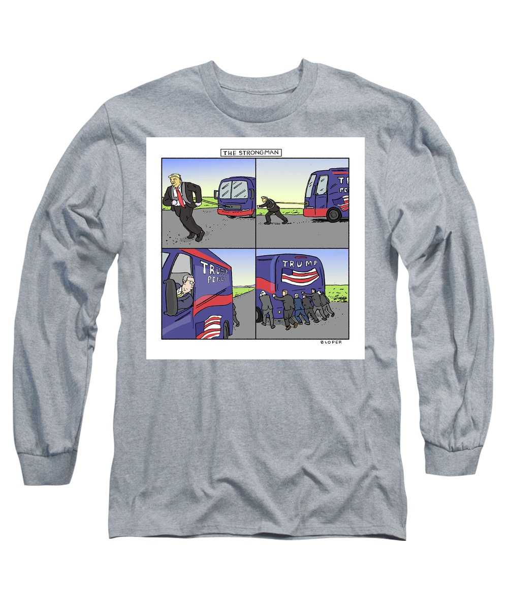 Captionless Long Sleeve T-Shirt featuring the drawing The Strongman by Brendan Loper