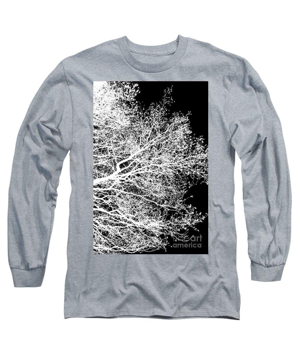 Alder Long Sleeve T-Shirt featuring the photograph Winter alder 1, monochrome inverted by Paul Boizot