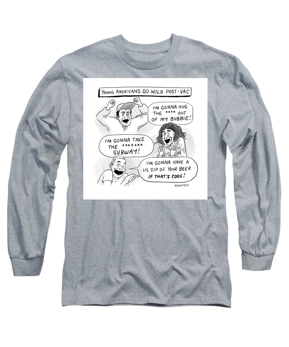 Young Americans Go Wild Post-vac Long Sleeve T-Shirt featuring the drawing Young Americans Go Wild by Emily Bernstein
