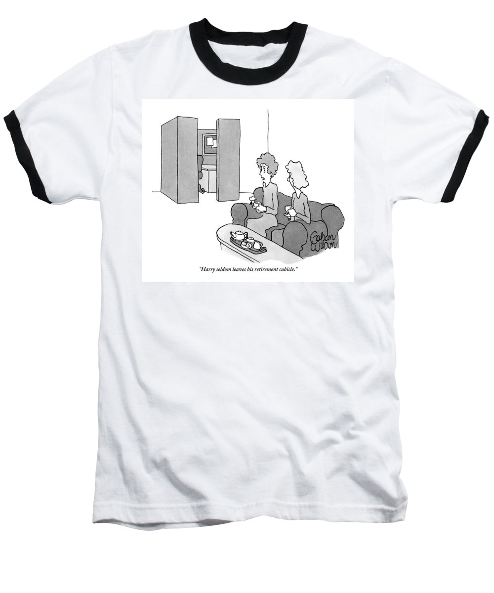 Cubicles Baseball T-Shirt featuring the photograph One Woman Says To Another While They Have Tea by Gahan Wilson
